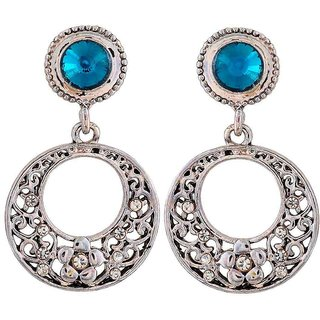 Maayra Trendy Blue Silver Stone Crystals Get-Together Drop Earrings