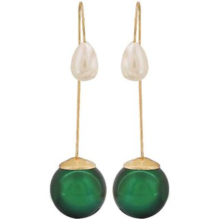 Maayra Cool Green White Pearl Party Drop Earrings