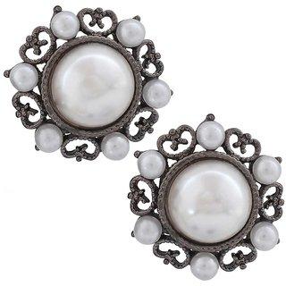 Maayra Dashing White Silver Pearl Casualwear Stud Earrings