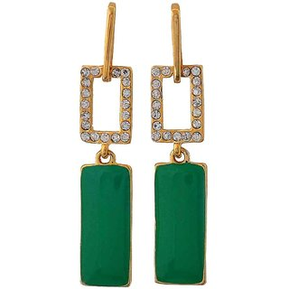 Maayra Hot Green Gold Stone Crystals College Drop Earrings