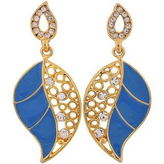 Maayra Plush Blue Gold Indian Ethnic College Drop Earrings