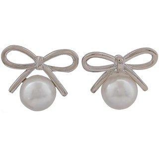 Maayra Modern White Pearl Party Stud Earrings