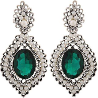 Maayra Simple Green White Stone Crystals Party Drop Earrings