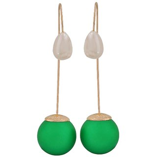Maayra Gorgeous Green White Pearl Party Drop Earrings