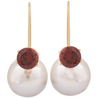 Maayra Sensual Wine White Pearl Cocktail Drop Earrings