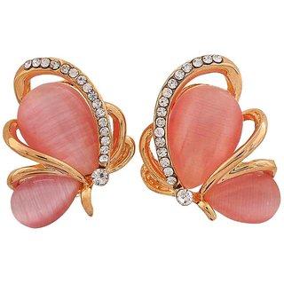 Maayra Plush Pink Designer College Clip On Earrings