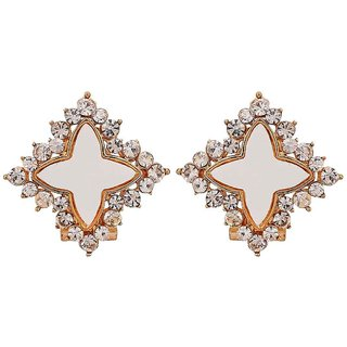 Maayra Amazing White Stone Crystals Get-Together Clip On Earrings