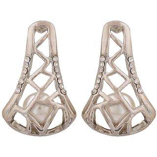 Maayra Cute White Silver Pearl College Drop Earrings