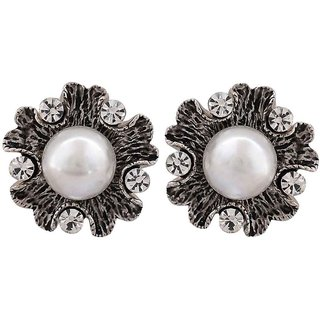 Maayra Sober White Silver Pearl Cocktail Clip On Earrings