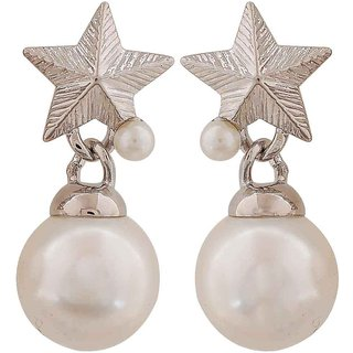 Maayra Lovable White Silver Pearl Casualwear Drop Earrings