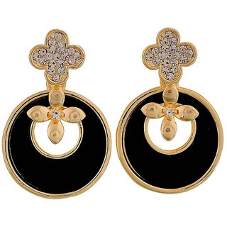 Maayra Sexy Black Gold Indian Ethnic College Drop Earrings