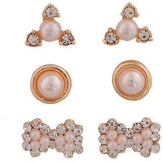 Maayra Fab White Pearl Party Stud Earrings