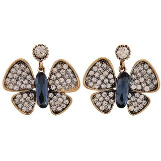Maayra Shining Blue Bronze Stone Crystals College Drop Earrings