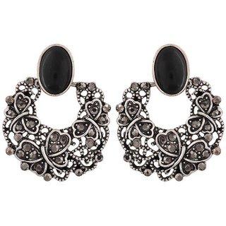 Maayra Awesome Black Designer Casualwear Chand Bali Earrings