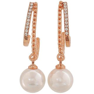 Maayra Adorable White Bronze Pearl Get-Together Drop Earrings