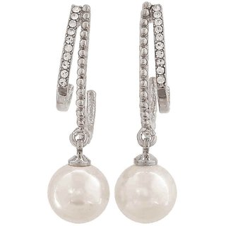 Maayra Plush White Silver Pearl Get-Together Drop Earrings