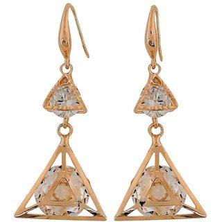 Maayra Classy Gold Stone Crystals Casualwear Dangler Earrings