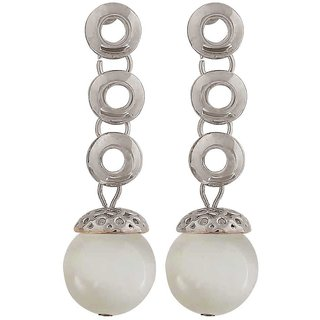 Maayra Class White Silver Designer Party Drop Earrings