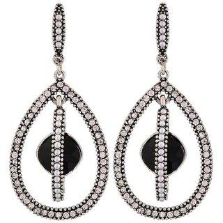 Maayra Fabulous Black White Pearl College Drop Earrings