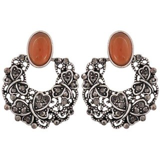 Maayra Fab Orange Silver Designer Party Chand Bali Earrings