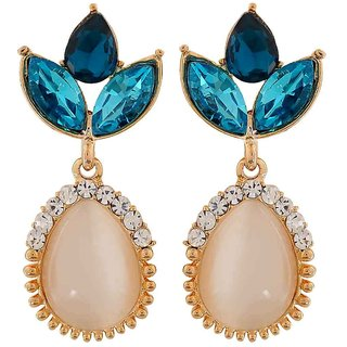 Maayra Smashing Blue Off-White Kundan Cocktail Drop Earrings