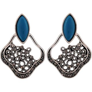 Maayra Stunning Blue Silver Designer Casualwear Chand Bali Earrings