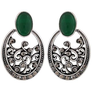 Maayra Shining Green Silver Designer College Chand Bali Earrings