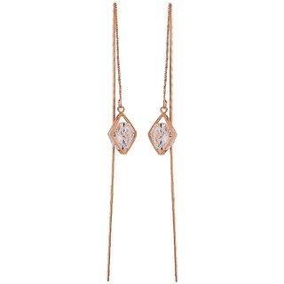 Maayra Smart Bronze Stone Crystals Cocktail Tassel Earrings