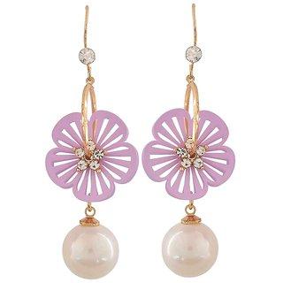 Maayra Classic White Purple Pearl Casualwear Drop Earrings