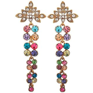 Maayra Sparkling Multicolour Stone Crystals College Drop Earrings