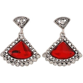 Maayra Classic Red Silver Stone Crystals Casualwear Drop Earrings