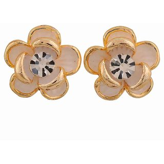 Maayra Exclusive White Stone Crystals Cocktail Clip On Earrings
