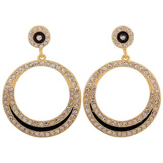 Maayra Lively Black Stone Crystals Get-Together Drop Earrings