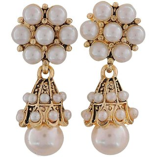 Maayra Lovely White Pearl Cocktail Drop Earrings