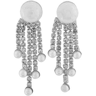 Maayra Beautiful White Pearl Get-Together Drop Earrings