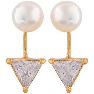 Maayra Posh White Indian Ethnic Cocktail Drop Earrings