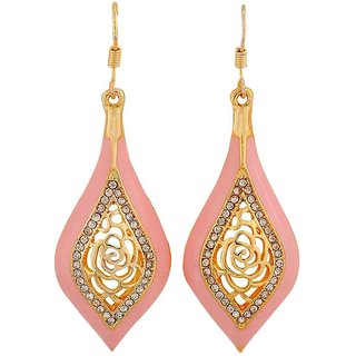 Maayra Bright Pink Gold Designer Get-Together Dangler Earrings