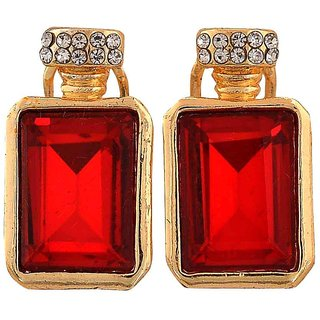 Maayra Cool Red Gold Stone Crystals Casualwear Clip On Earrings