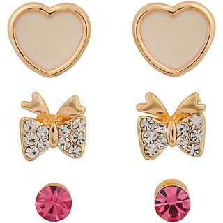 Maayra Classy White Pink Indian Ethnic College Stud Earrings