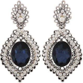 Maayra Suave Blue White Stone Crystals Party Drop Earrings