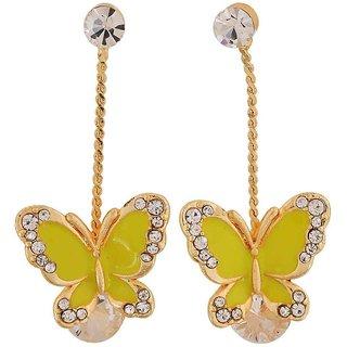 Maayra Dashing Yellow Gold Stone Crystals Cocktail Drop Earrings