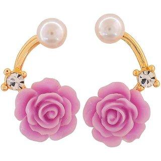 Maayra Chic Purple Pearl Cocktail Drop Earrings