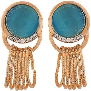 Maayra Lovely Blue Gold Designer Cocktail Drop Earrings