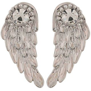 Maayra Classy Silver Stone Crystals College Drop Earrings