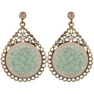 Maayra Dashing Green Stone Crystals Cocktail Drop Earrings
