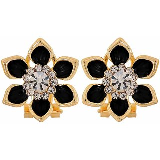 Maayra Awesome Black Gold Stone Crystals Cocktail Clip On Earrings