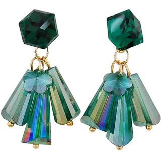 Maayra Cute Green Stone Crystals Get-Together Drop Earrings
