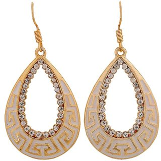 Maayra Adorable White Gold Designer Party Dangler Earrings