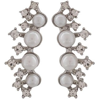 Maayra Sexy White Silver Pearl Get-Together Drop Earrings