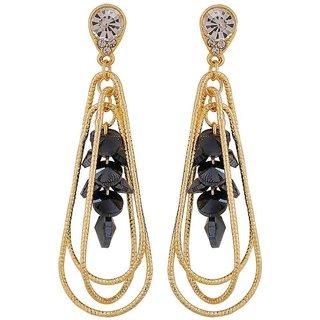 Maayra Class Blue Gold Designer Casualwear Drop Earrings